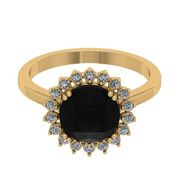 black and white diamond halo ring