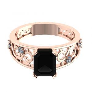 black emerald cut diamond engagement ring