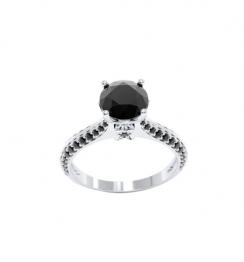 2.5 carat black diamond ring