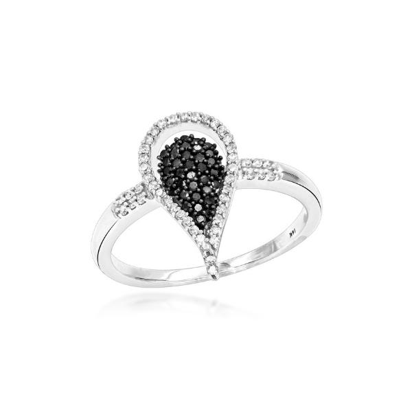 WHITE BLACK DIAMOND TEARDROP RING