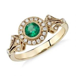 emerald diamond vintage halo ring