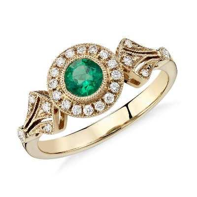 emerald diamond vintage halo ring