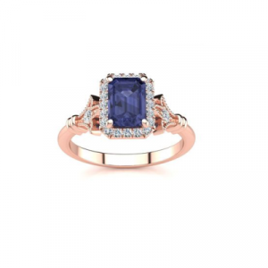 emerald cut tanzanite halo ring