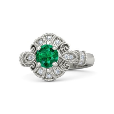 round cut emerald ring