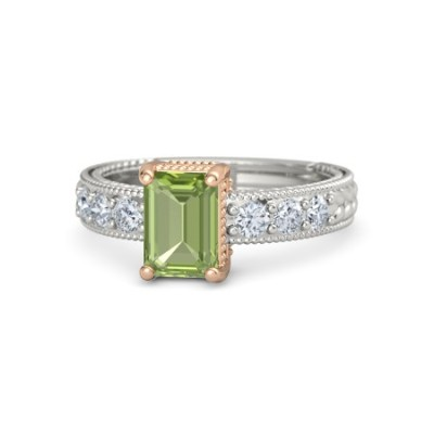 emerald cut peridot rings