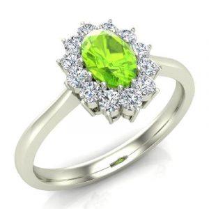 oval peridot diamond ring