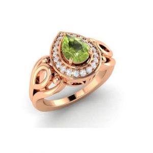 pear cut peridot diamond vintage ring