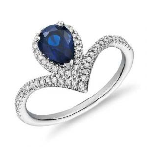 pear shaped sapphire diamond ring