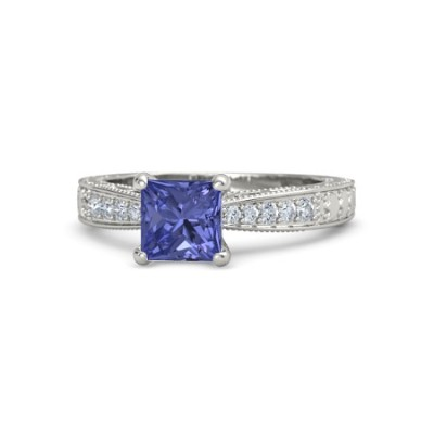 princess cut tanzanite ring