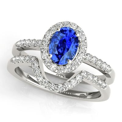 tanzanite diamond bridal set ring