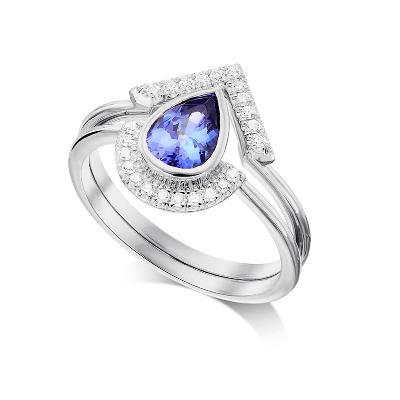 pear shaped tanznite engagement ring