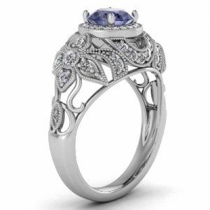 antique halo tanzanite rings