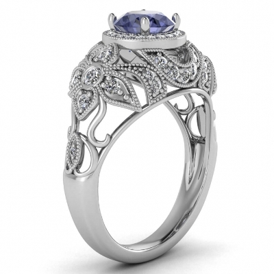 antique halo tanzanite rings