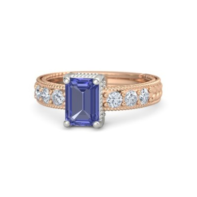 emerald tanzanite diamond ring
