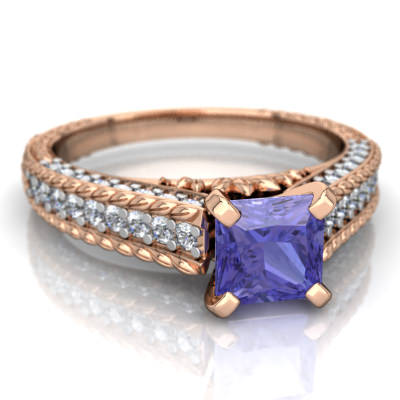 tanzanite antique style diamond ring