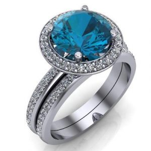 London blue topaz gemstone ring set