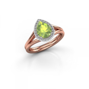 pear cut peridot rings