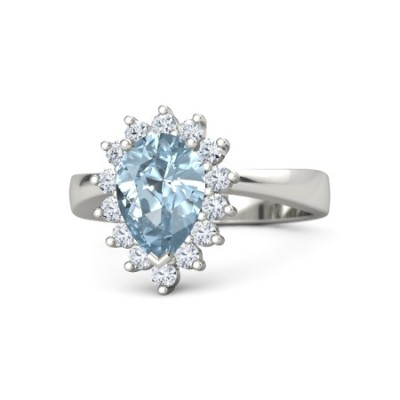 pear cut aquamarine ring