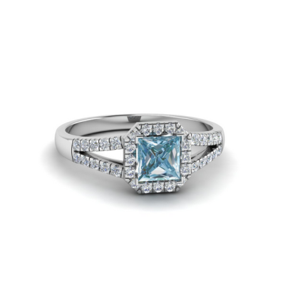 square shape halo aquamarine ring
