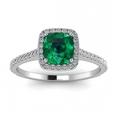 cushion cut emerald ring