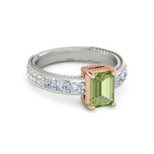 emerald cut peridot rings