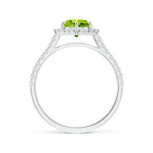 peridot diamond halo ring