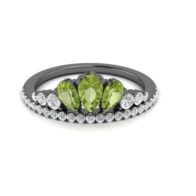 pear cut peridot diamond ring