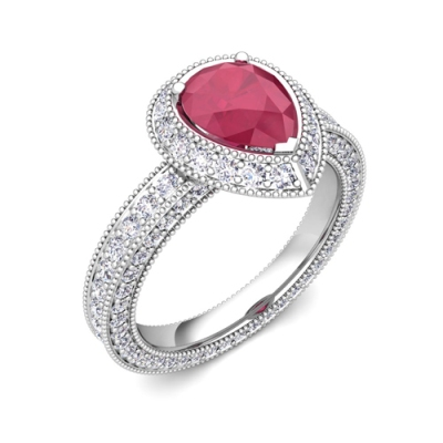 pear shape ruby diamond rings