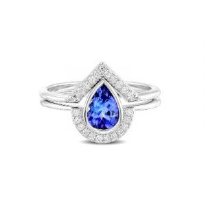 pear shaped tanzanite engagement ring