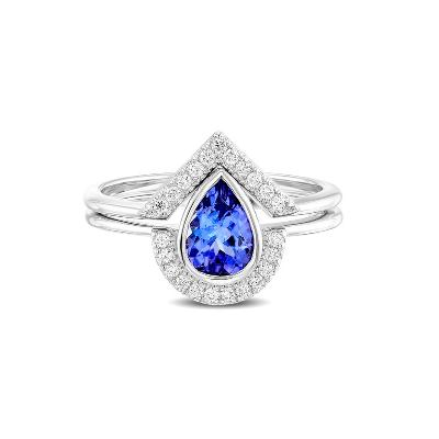 pear shaped tanzanite engagement ring