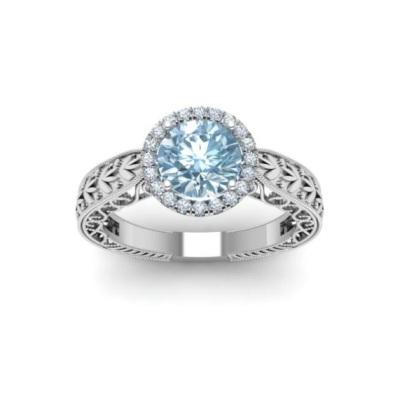 vintage halo aquamarine ring