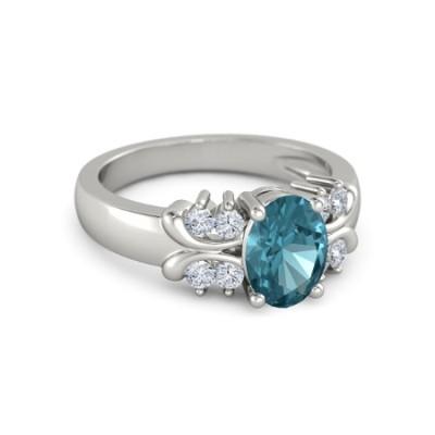 oval shape topaz diamond ring
