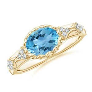 topaz diamond vintage style ring