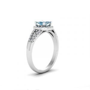 square shape halo aquamarine ring
