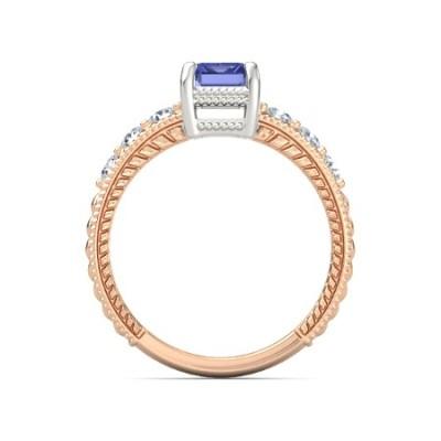 emerald tanzanite diamond ring