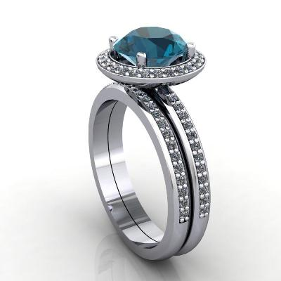 London blue topaz gemstone ring set