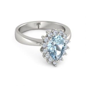 pear cut aquamarine ring