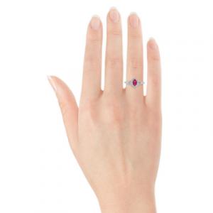 oval ruby halo diamond rings