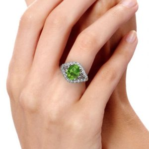 antique peridot diamond ring