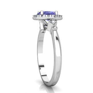 tanzanite diamond halo ring