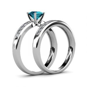 topaz diamond bridal ring set