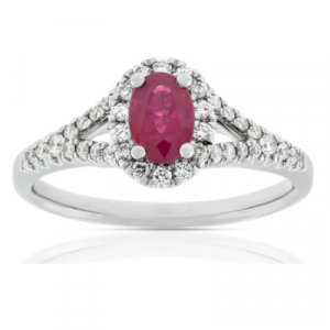 oval ruby halo diamond rings