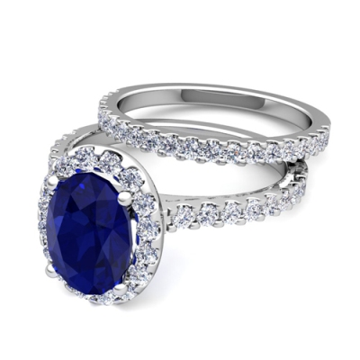 sapphire halo bridal set ring