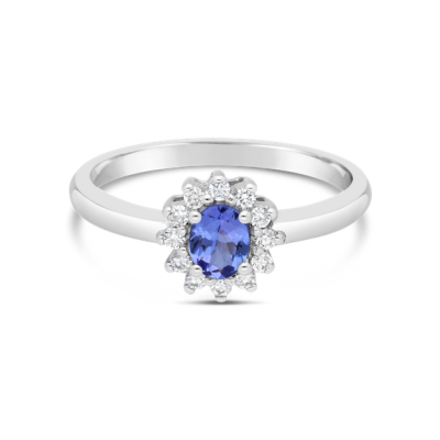 oval cut tanzanite diamond ring