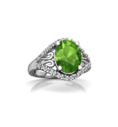 antique peridot diamond ring