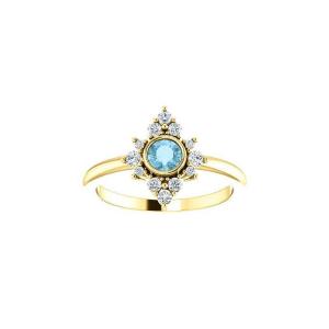 Aquamarine diamond cluster ring