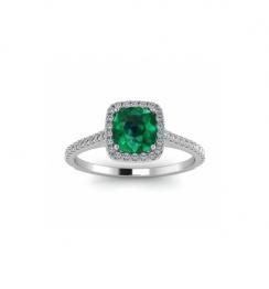 cushion cut emerald ring