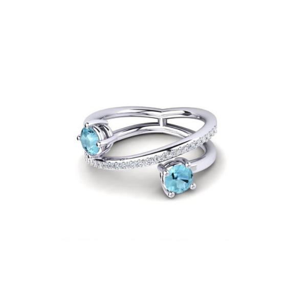 double aquamarine ring