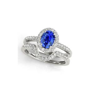 tanzanite diamond bridal set ring