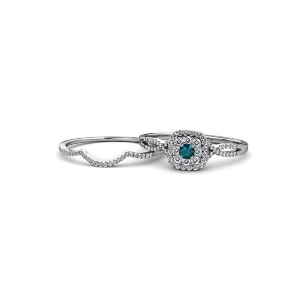 topaz diamond halo bridal ring set